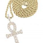 10K Yellow Gold Ankh Diamond Pendant & Rope Chain / 0.79 Carats