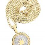 10K Yellow Gold Marijuana Leaf Diamond Pendant & Cuban Chain / 0.88 Carats