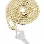 10K Yellow Gold Key Diamond Pendant & Cuban Chain / 1.17 Carats