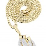 10K Yellow Gold Boxing Glove Diamond Pendant & Cuban Chain / 1.47 Carats