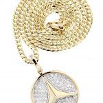 10K Yellow Gold Circle Diamond Pendant & Cuban Chain / 0.44 Carats