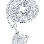 10K White Gold Lion Head Diamond Pendant & Cuban Chain / 0.79 Carats