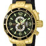 Invicta Corduba Quartz Watch – Gold case with Gold, Black tone Stainless Steel, Polyurethane band – Model 4900