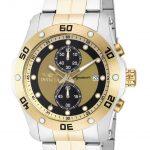 Invicta Signature Quartz Watch – Gold, Stainless Steel case with Steel, Gold tone Stainless Steel band – Model 7384