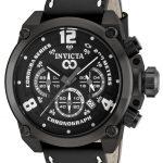 Invicta Corduba Quartz Watch – Black, Gunmetal case with Black tone Leather band – Model 90219