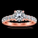 Pave Diamond Engagement Ring Grande 14K Rose Gold