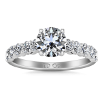 Round Diamond Pave Engagement Ring Grande 14K White Gold