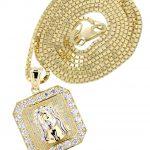 10K Yellow Gold Box Chain & Jesus Piece Chain / Appx. 7.1 Grams