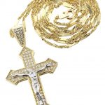 10K Yellow Gold Fancy Link Chain & Cz Gold Cross Necklace / Appx. 7.4 Grams