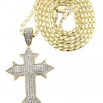 10K Yellow Gold Fancy Link Chain & Cz Gold Cross Necklace / Appx. 13.5 Grams