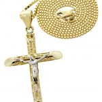 10K Yellow Gold Box Chain & Gold Cross Necklace / Appx. 7.6 Grams