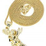 10K Yellow Gold Box Chain & Angel Pendant / Appx. 6.3 Grams