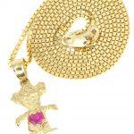 10K Yellow Gold Box Chain & Cz Children Pendant / Appx. 3.2 Grams