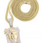 10K Yellow Gold Jesus Head Diamond Pendant & Franco Chain / 2.35 Carats