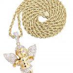 10 Yellow Gold Angel Diamond Pendant & Rope Chain / 0.96 Carats
