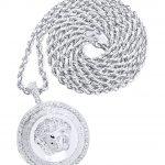 10 White Gold Versace Diamond Pendant & Rope Chain / 1.37 Carats
