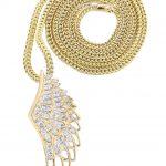 10K Yellow Gold Angel Wing Diamond Pendant & Franco Chain / 0.82 Carats