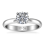 Round Diamond Solitaire Engagement Ring Comfort Fit Round Diamond Diamond 14K White Gold