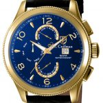 S. Coifman Swiss Movement Quartz Watch – Gold case with Black tone Leather band – Model SC0108