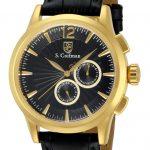 S. Coifman Swiss Movement Quartz Watch – Gold case with Black tone Leather band – Model SC0263