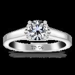 Round Diamond Solitaire Engagement Ring Royale Lattice 14K White Gold