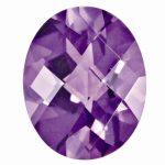 Loose Amethyst Gemstone 7x5mm Oval Checkerboard AAA Quality