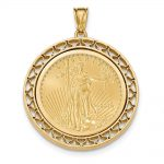 14k Yellow Gold Fancy Wire Polished Prong 1/2ae Bezel W/coin
