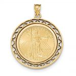 14k Yellow Gold Fancy Wire Polished Prong 1/4ae Bezel W/coin
