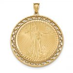 14k Yellow Gold Fancy Wire D/c Prong 1ae Bezel W/coin