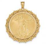 14k Yellow Gold Fancy D/c Prong 1ae Bezel W/coin