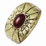 Brass-tone Red Crystal Hinged Cuff Bangle