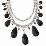 Silver-tone Clear Crystal, Black and Hematite Beads 16in w/ext Necklace