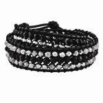 Black Aurora Borealis/grey Crystal Bead & Leather Multi-wrap Bracelet