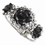 Silver-tone Black Flowers and Clear Crystal Hinged Bracelet
