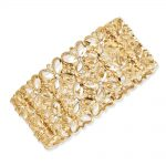 Gold-tone Clear Crystals Stretch Bracelet