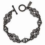 Black-plated Downton Abbey Black Crystal 7.5in Filigree Bracelet