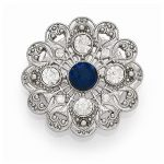 Silver-tone Downton Abbey Blue Crystal & Clear Glass Filigree Pin