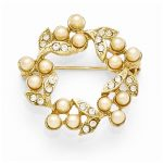Gold-tone Downton Abbey Glass & Simulated Pearl Wreath Pin