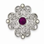 Silver-tone Downton Abbey Simulated Pearl & Purple Crystal Pin