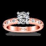Pave Diamond Engagement Ring Jazz 14K Rose Gold