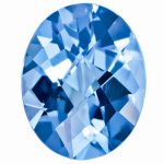 Loose Blue Topaz Gemstone 10x8mm Oval Checkerboard AA Quality