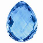 Loose Blue Topaz Gemstone 9x6mm Pear Checkerboard AA Quality