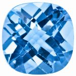 Loose Blue Topaz Gemstone 11mm Cushion Checkerboard AA Quality