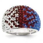 Sterling Silver Swarovski Elements New York Spirit Domed Ring