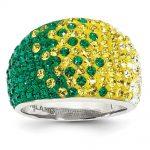 Sterling Silver Swarovski Elements Green Bay Spirit Domed Ring