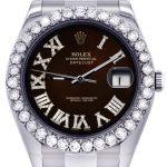 Rolex Datejust II Watch / 41 MM / Custom Black Chocolate Dial / Oyster Band