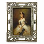 Gold-tone Rectangular Scrolled Enamel with Crystals Photo Frame