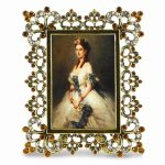 Gold-tone Scrolled Enamel with Crystals Photo Frame