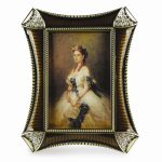 Gold-tone V-Corners Enamel with Crystals Photo Frame
