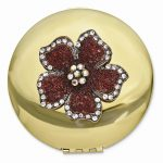 Round Compact Mirror with Flower – Engravable Personalized Gift Item